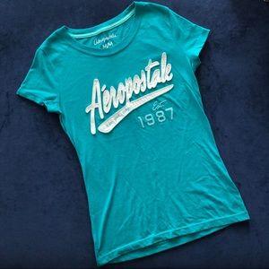 Aeropostale Turquoise Crew Neck T-shirt